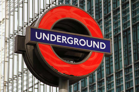 London Underground Sign At Canary Wharf, London