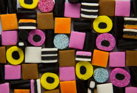 Liquorice allsorts fill frame Stock Photo