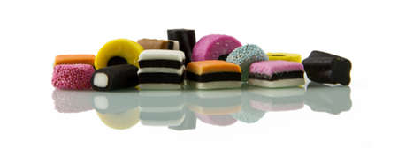 Liquorice allsorts, low reflected Stock Photo
