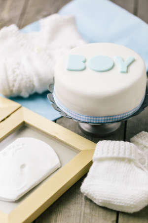 Celebration cake for a baby boy Stock Photo