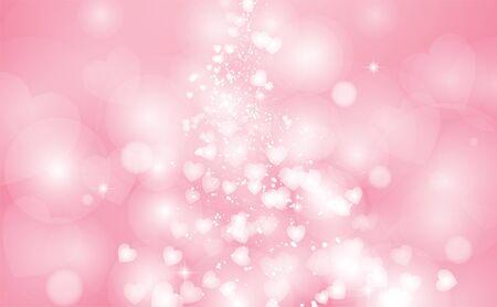 Heart shaped bokeh on a pink background, Valentine background, Vector illustration Ilustración de vector