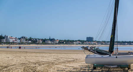 Royan, Vaux-sur-Mer, beaches, sailboats and plaice, small fisherman's houses on stilts.