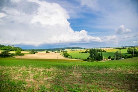 Landscape of the Gers countryside in France.