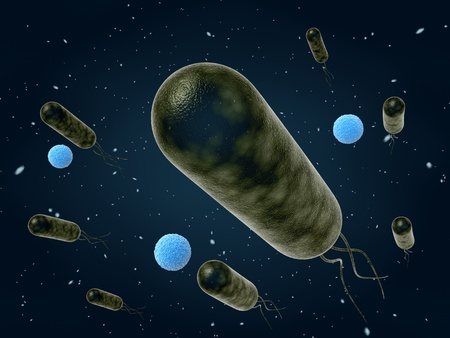 microbiology: bacteria moving , 3d illustration Stock Photo