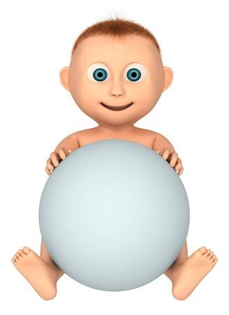 baby sitting: baby holding ball, 3d render isolated on white