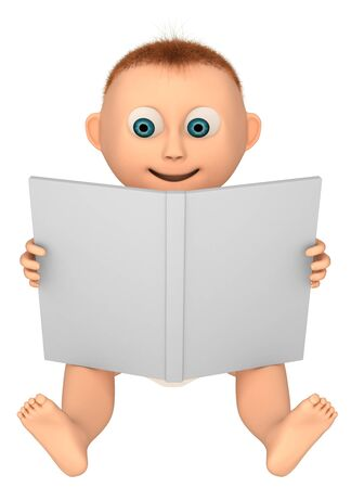 baby looking at a book, 3d render isolated on white  photo