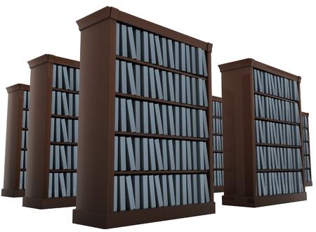 repository: bookshelves isolated on white 3d render