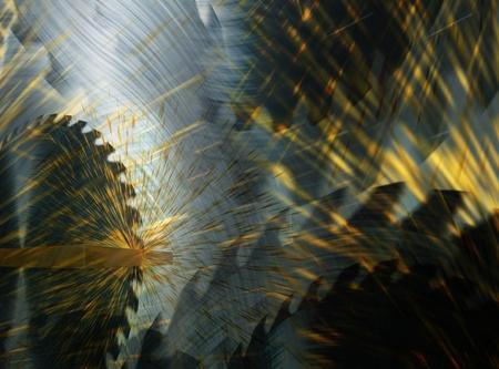 円の鋸木を切る 写真素材