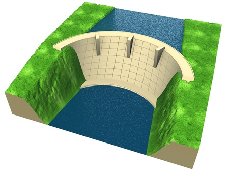 hydro power: abstract dam in an stylized landscape, 3d render isolated on white