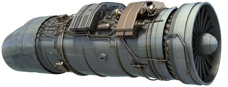 turbine engine: jet engine isolated on white 3d render