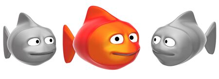 funny fishes, 3d render isolated on white  photo