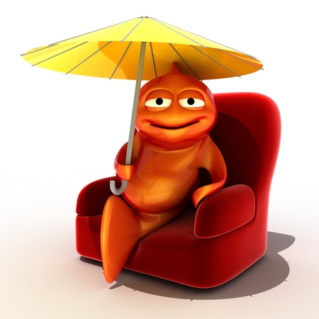 funny fish resting on armchair under umbrella, 3d render isolated on white  photo