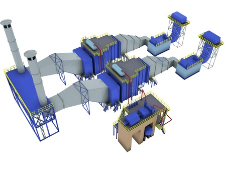downstream: abstract factory interior,  gas-turbine power plant , 3d render isolated on white