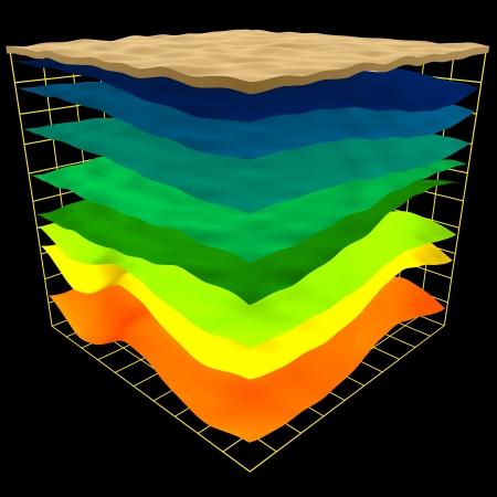 astratto schema di geologia strati, 3d render isolato su fondo nero