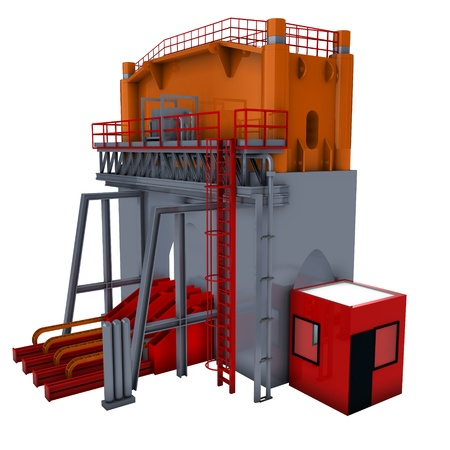 hydraulic: hydraulic press, factory interior, 3d render isolated on white  Stock Photo
