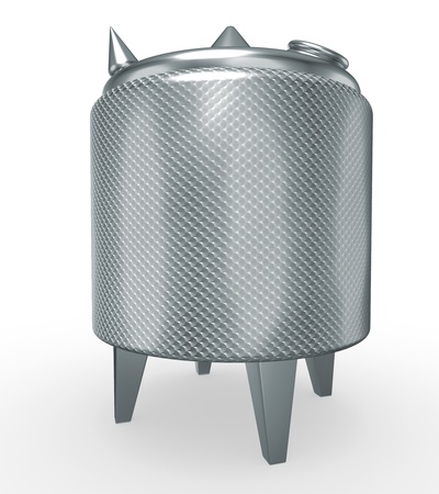 steel  milk: stainless steel temperature controlled pressure tank, 3d render isolated on white