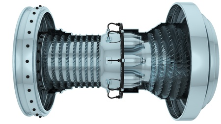 turbines: gas turbine  3d render isolated on white