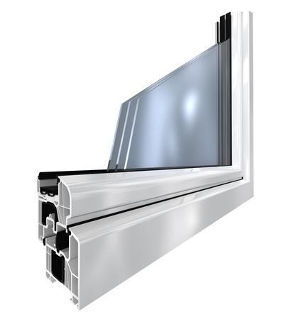 ventana abierta interior: ventana de pl�stico blanco cortado, 3d render aislado en blanco