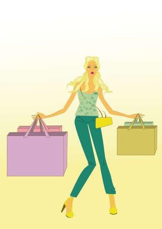 go shopping: woman go shopping Illustration