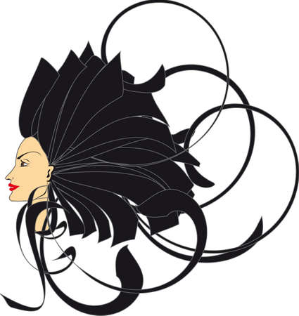 profile of women by circles with hair Vector