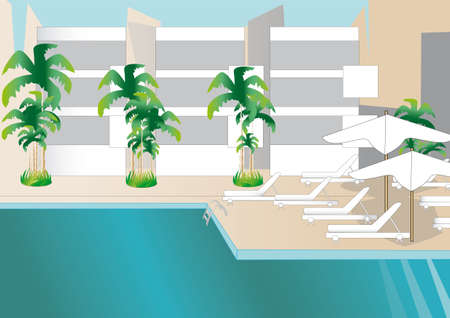 exteexterior view and the swimming pool of a resort hotel  Vector