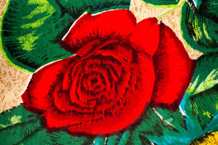 depicted: beautiful rose depicted on the materials from fabrics Stock Photo