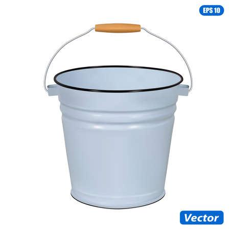 Enamel bucket isolated on white background vector illustration photorealism Vettoriali