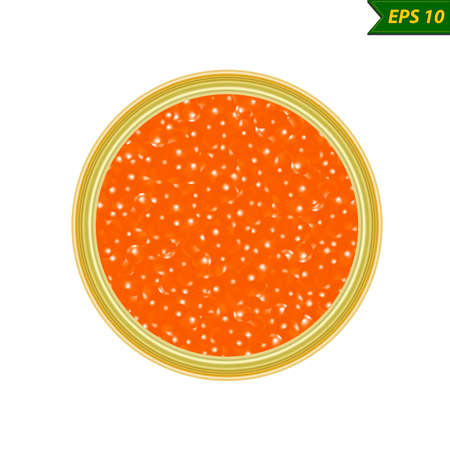 Red caviar red caviar vector photo realism illustration isolated on white background.