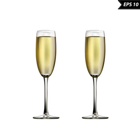 Wine glasses with champagne vector illustration isolated on white background. Standard-Bild - 96915931