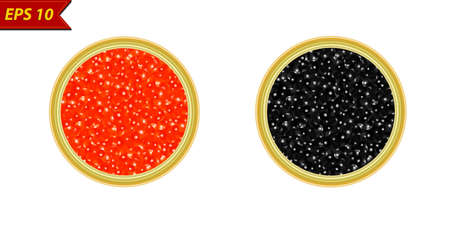 Caviar in a jar vector illustration isolated on white background Illustration