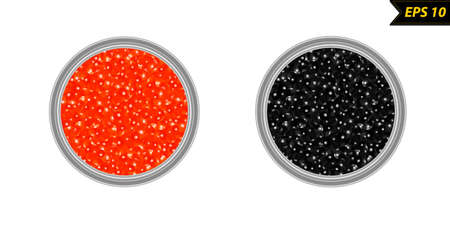 Caviar in a jar vector illustration isolated on white background Çizim