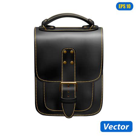 photorealistic handbag isolated on white background vector illustration Vettoriali