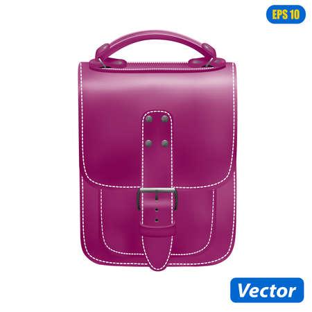 photorealistic handbag isolated on white background vector illustration Illustration