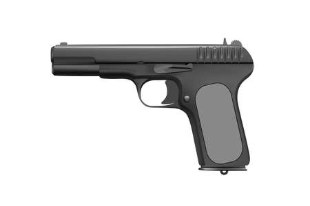 Gun isolated on white background vector illustration. Combat the automatic a pistol.