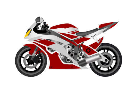 Motorcycle sports on white background. Vector illustration. Vettoriali