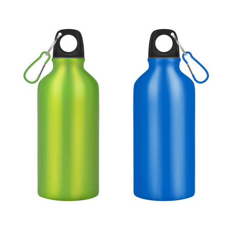 Bottle for drinking metal on a white background. Vector illustration.