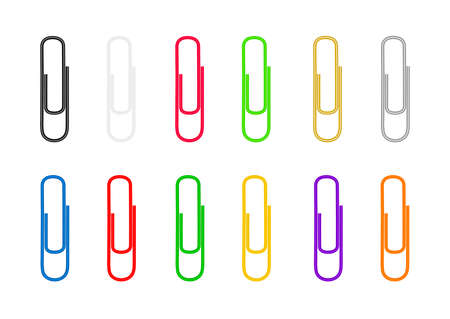 Paper clips are colored on white background. Vector illustration.