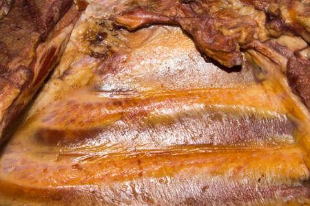 Smoked pork.Smoked pork ribs. Foto de archivo - 104185224