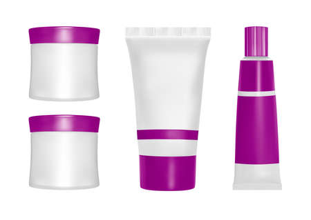 Vector packaging. Body care products. Oil, lotion or soap, shampoo, cream. Realistic bottle mock up set. Isolated pack on white background.