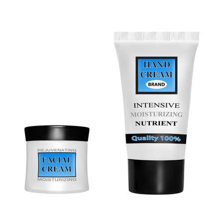 Anti-aging face cream.Hand cream moisturizing.Cream packaging vector illustration.