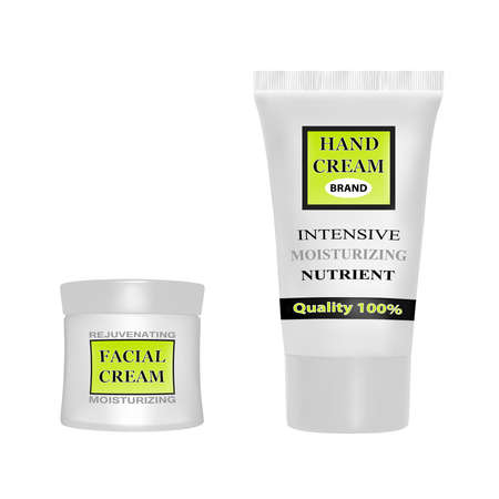 Anti-aging face cream.Hand cream moisturizing.Cream packaging vector illustration.