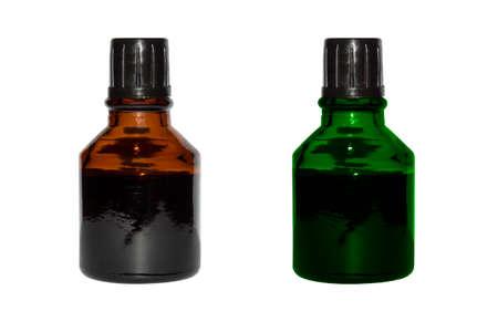 Iodine and Zelenka in bubbles isolated on white background.