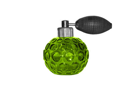 Bottle with spray-pear for Cologne on a white background.