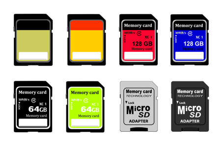 memory cards in vector on white background