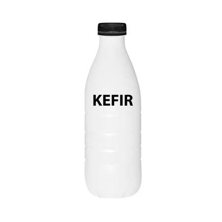 A bottle of kefir in vector on white background. Illustration