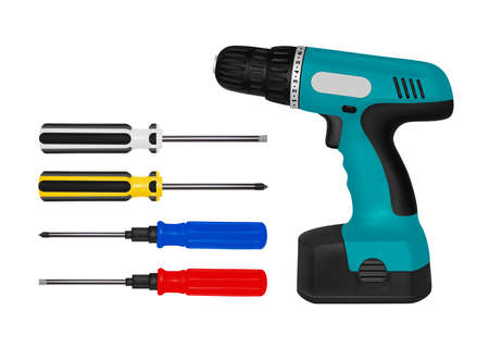 Screwdriver in vector.Screwdriver battery in the vector.Screwdriver in vector on white background. Illustration