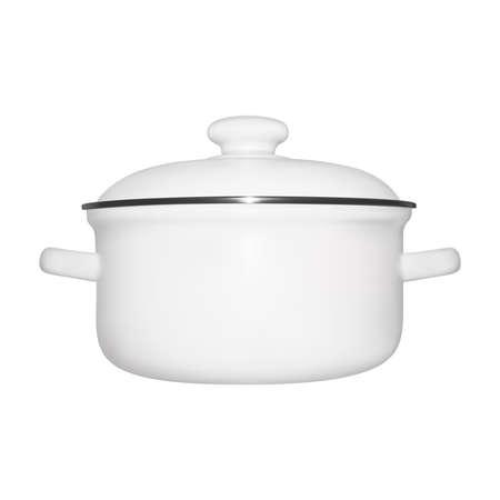 Pan in illustration. The pan is enameled on a white background. Vektorgrafik