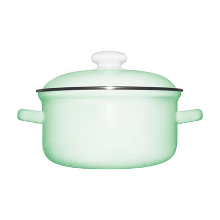 Pan in illustration. The pan is enameled on a white background. Illustration