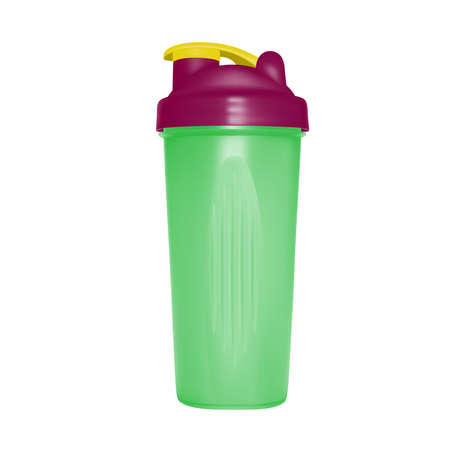 Shaker for protein shakes in vector on white background. Illustration