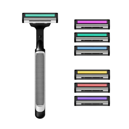 Máquina de afeitar en vector sobre fondo blanco. Revista para la ilustración de vector de maquinilla de afeitar.